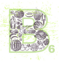 ink hand drawn fruits and veggies vitamin b6 vector image