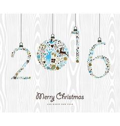 Merry Christmas Happy new year 2016 retro ornament vector image vector image