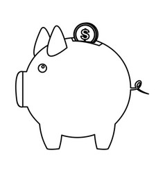 silhouette piggy bank with dollar coin icon vector image
