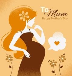 Vintage beautiful pregnant woman vector image