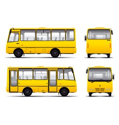 yellow minibus draft template isolayed over white vector image vector image