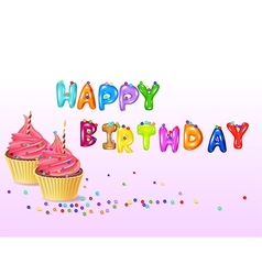 Birthday background with cup cake vector image