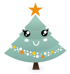 Cute christmas tree mascot isolated on white vector image vector image