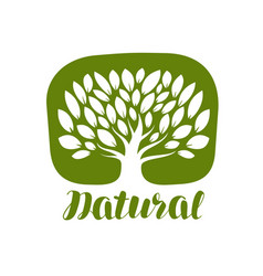 tree with leaves label or logo natural organic vector image vector image