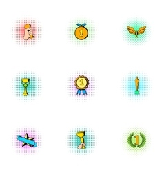 Victory icons set pop-art style vector image vector image