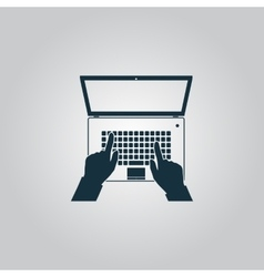 Business hands on notebook computer keyboard with vector image
