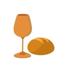 Chalice with wine piece of bread cartoon icon vector image