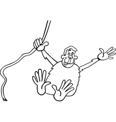 chimp cartoon for coloring vector image