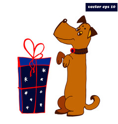 dog with present vector image vector image