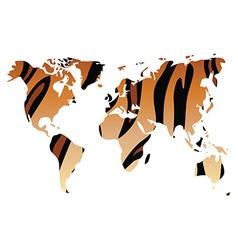 World map in animal print design tiger pattern vector image vector image