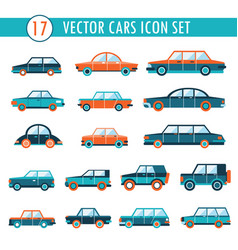 17 cars icon set transportation vector image
