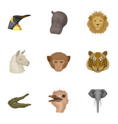 A set of icons of wild animals predatory and vector