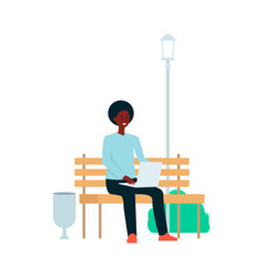 african-american man is sitting with laptop on vector image