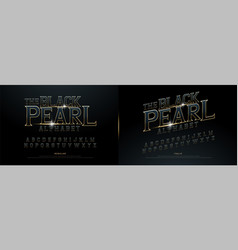 Alphabet golden metallic and effect designs vector