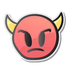 Angry face emoticon with horns emoji smiley symbol vector