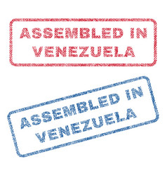 Assembled in venezuela textile stamps vector