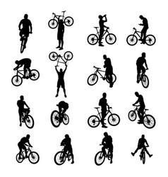 bicycle black set 02 vector image