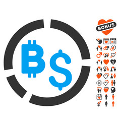 Bitcoin financial diagram icon with love bonus vector