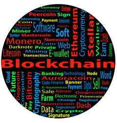 Blockchain word cloud concept on black background vector
