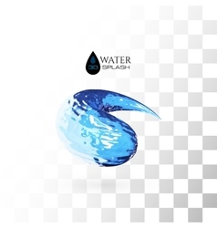 Blue 3D water splash isolated on white vector image