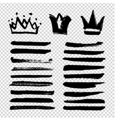 Brushstrokes in crown shapes and smooth strokes vector