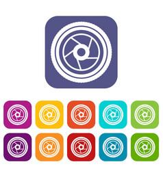 Camera aperture icons set vector