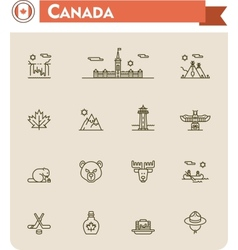 Canada travel icon set vector