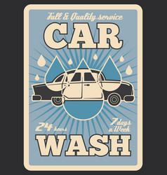 car wash service retro poster vector image