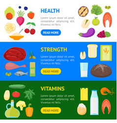 cartoon color healthy food banner horizontal set vector image