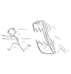 Cartoon of man or businessman chased by his vector
