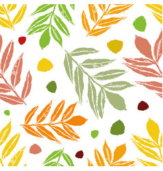 Cheerful orange and green mountain ash and birch vector