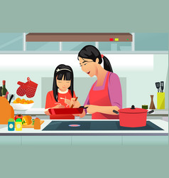 Chinese mother and daughter cooking in kitchen vector