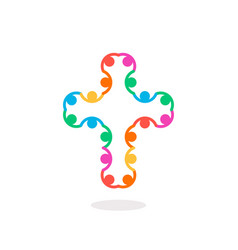 christian symbol colorful connection people cross vector image