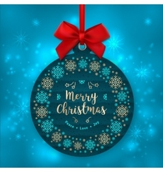 Christmas card tree decoration Happy holiday vector image