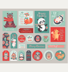 christmas cards and gift tags set with cute vector image