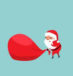 christmas santa claus pulling a huge red bag of vector image