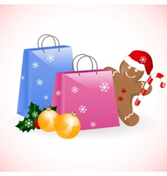 christmas shopping bags with gingerbread man vector image
