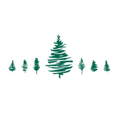 christmas trees set pine tree fir tree vector image