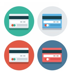 circle flat icon collection credit card vector image