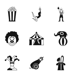 Circus chapiteau icons set simple style vector