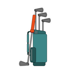 color image cartoon bag with golf clubs vector image