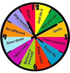 Colored clock with motivation and positive vector image