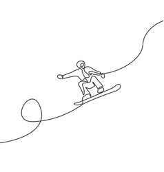 continuous one line drawing snowboarder jump vector image