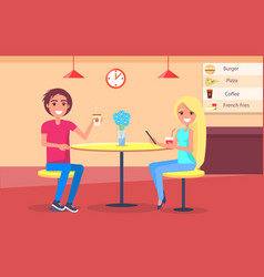 couple in restaurant drinking coffee online menu vector image
