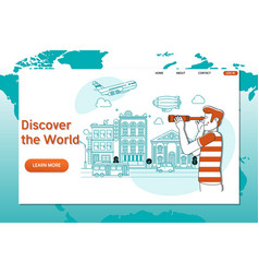 Creative website template of discover the world vector