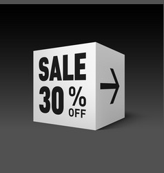 Cube banner template for holiday sale event vector