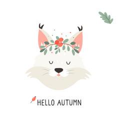 Cute lynx in autumn wreath on white background vector