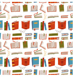 different colorful books seamless pattern vector image