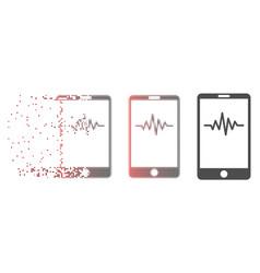 Disintegrating pixel halftone mobile signal graph vector