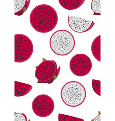 Dragon fruit slice seamless pattern on a white vector